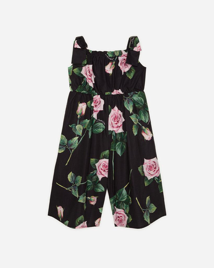 black sleeveless jumpsuit with pink roses