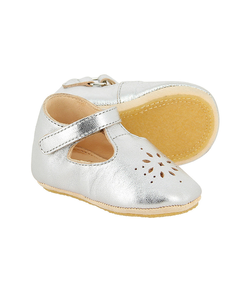metallic silver laser cut detail ballerinas