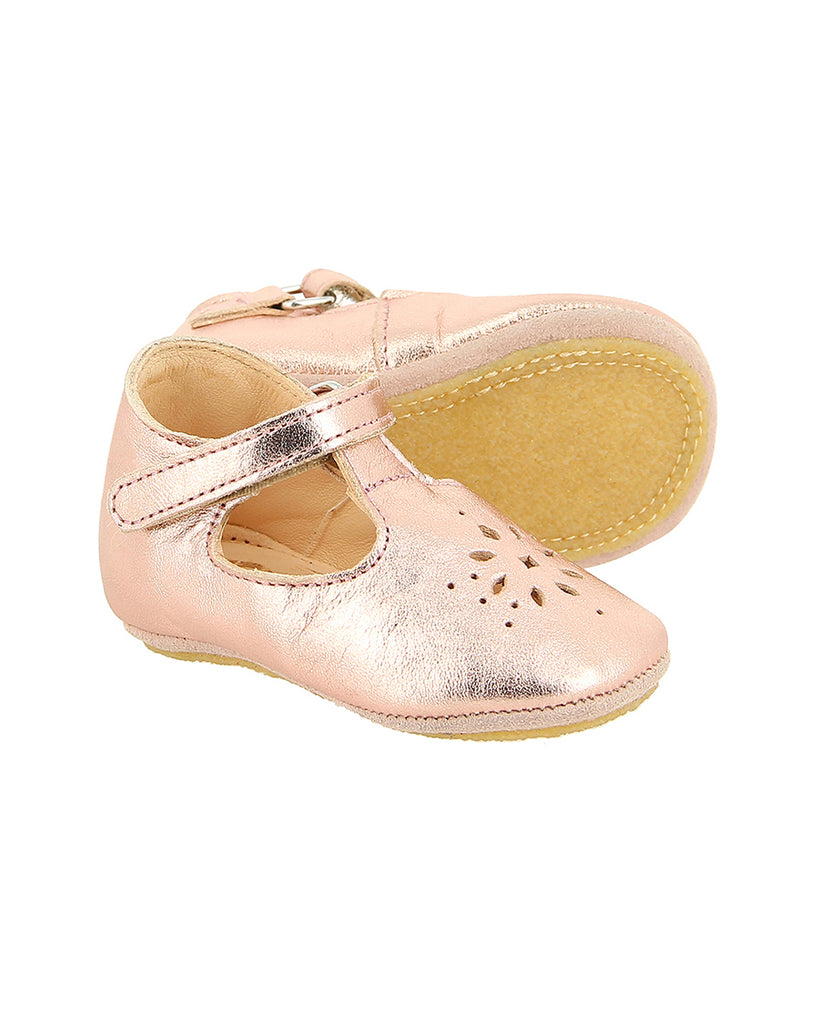 metallic pink laser cut detail ballerinas