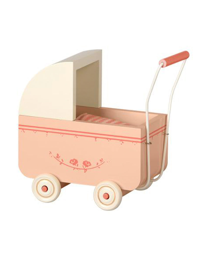 powder pink wooden toy pram