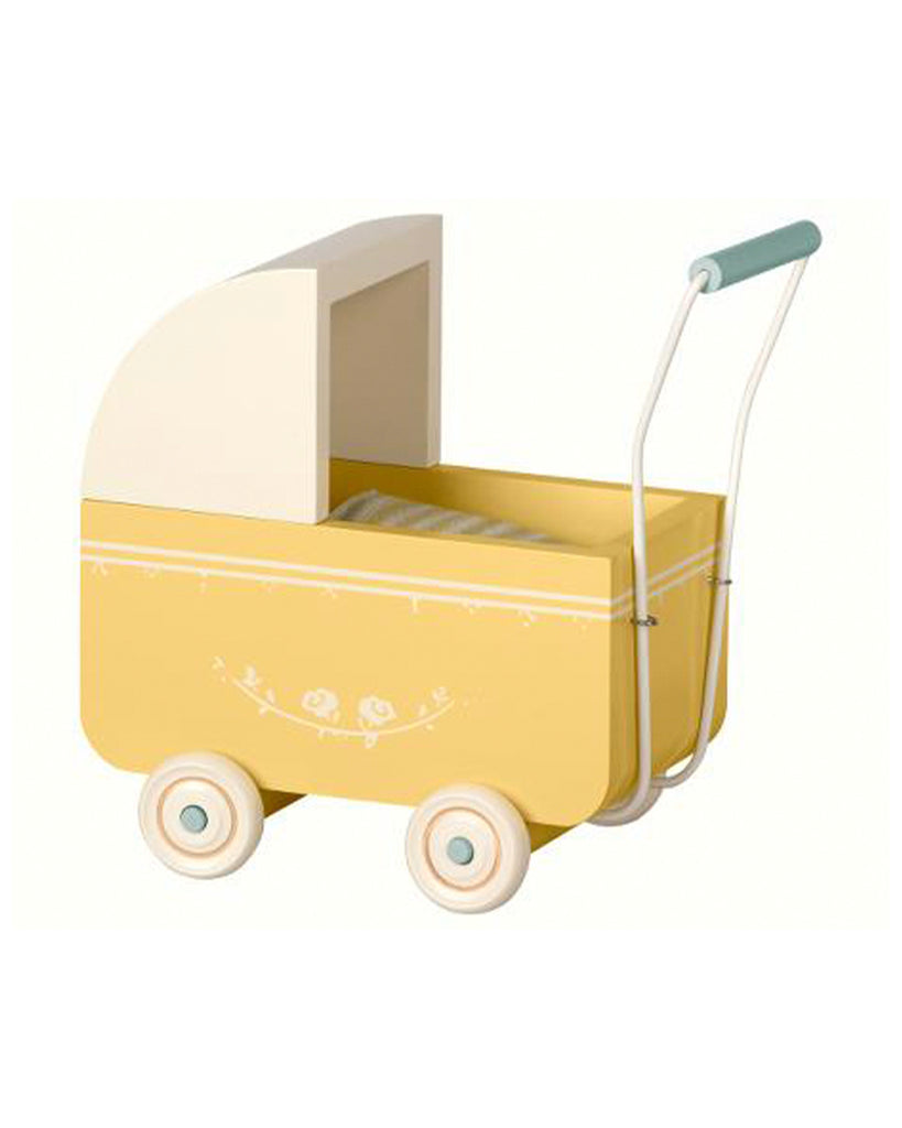 yellow wooden toy pram