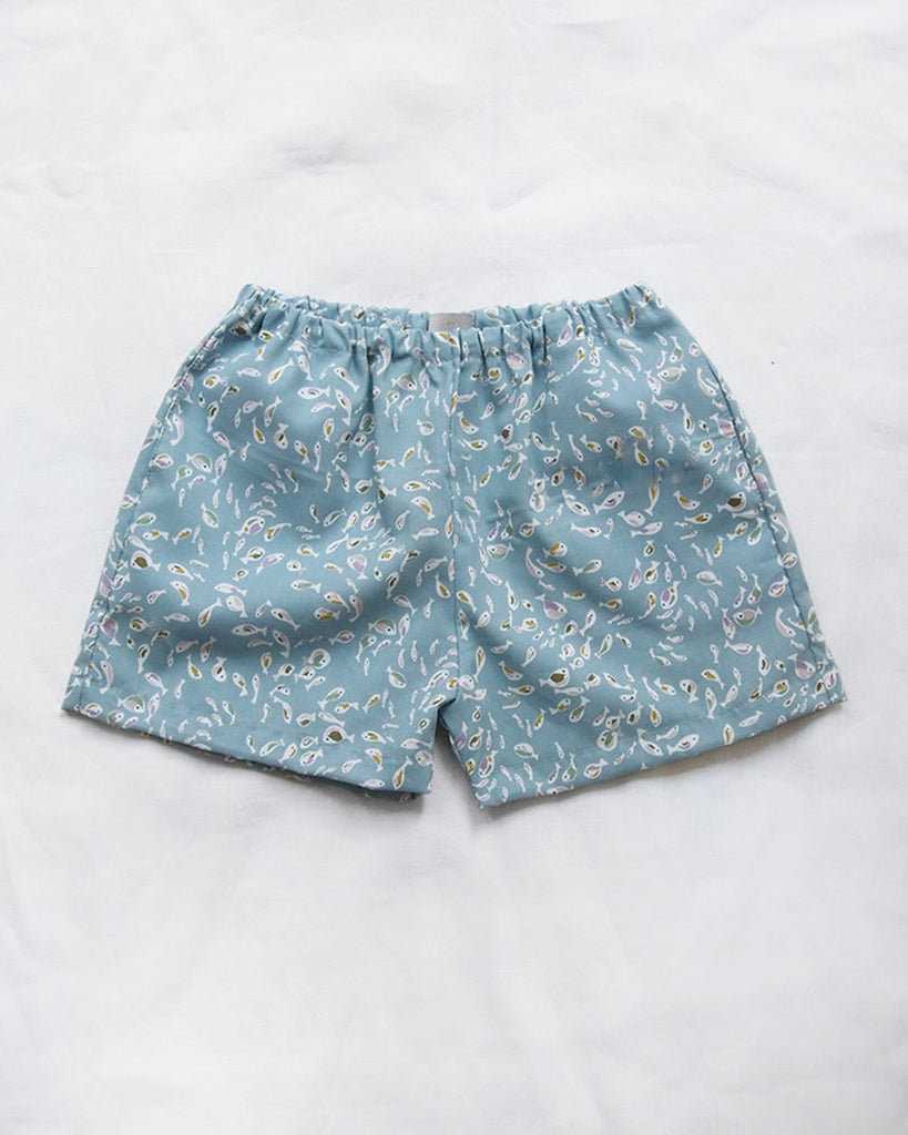 light blue fish pattern swim shorts