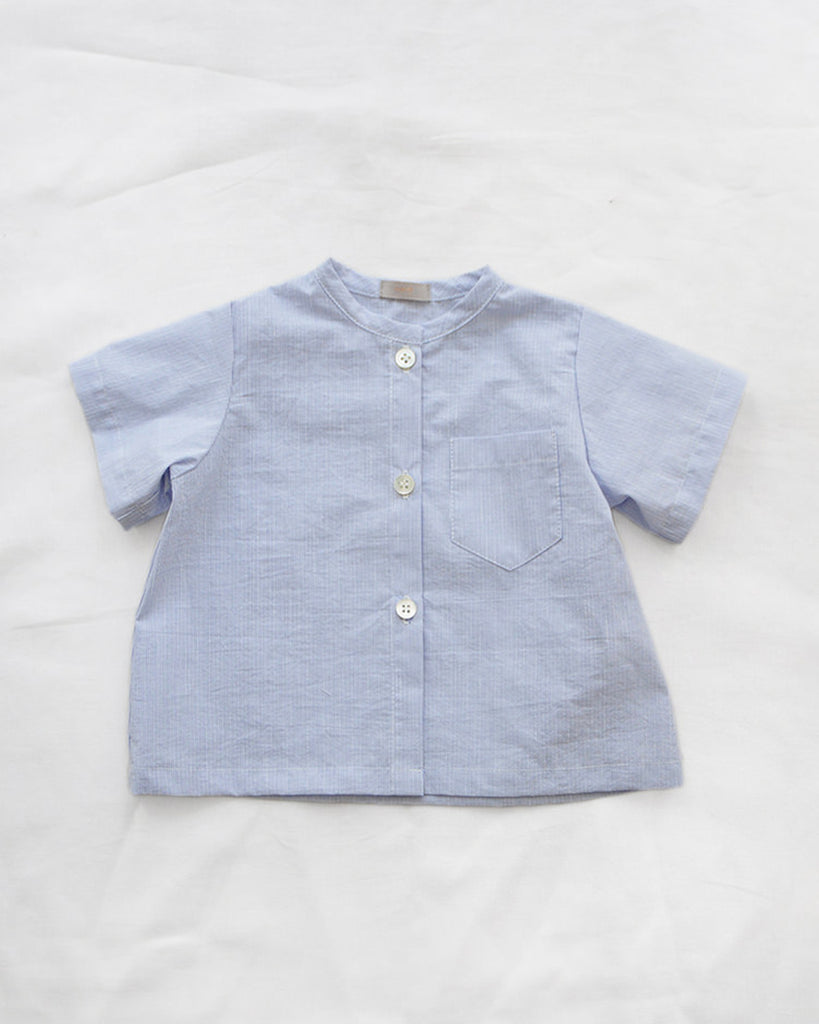 light blue pinstripe short sleeve button up shirt