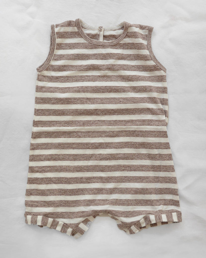 brown and off white stripe sleeveless romper