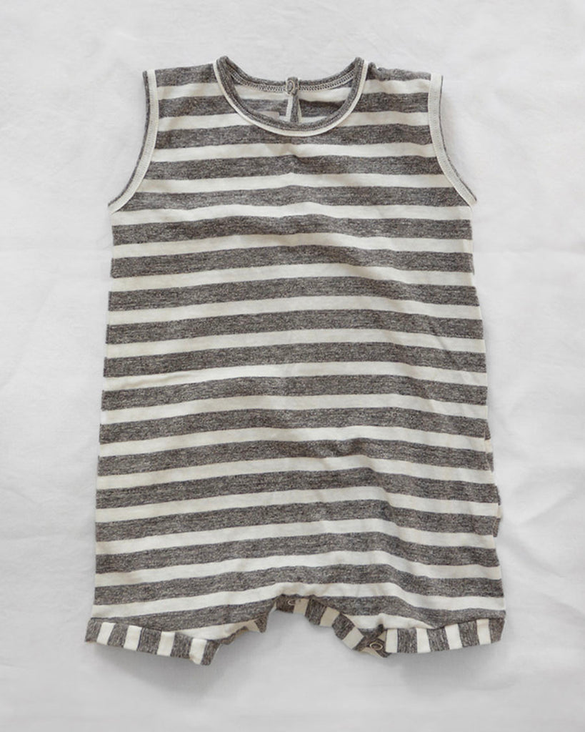 grey and off white stripe sleeveless romper