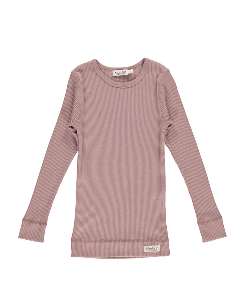 dusty pink ribbed long sleeve tee