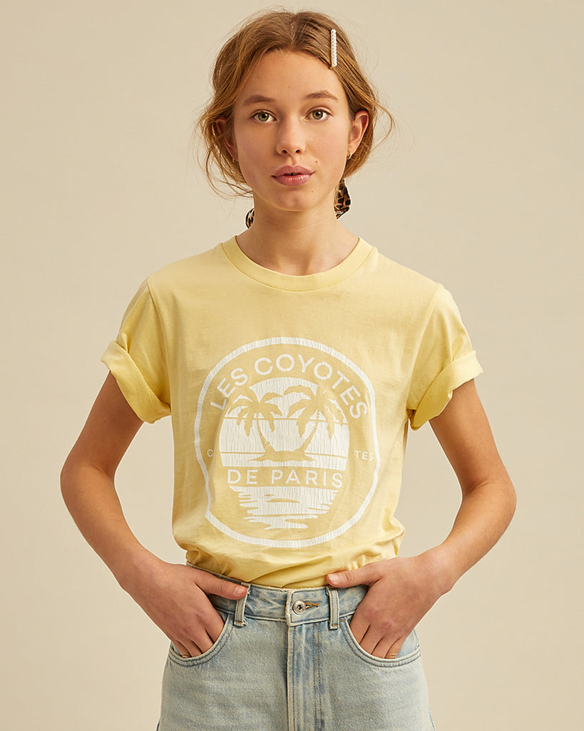 yellow logo graphic t-shirt on model