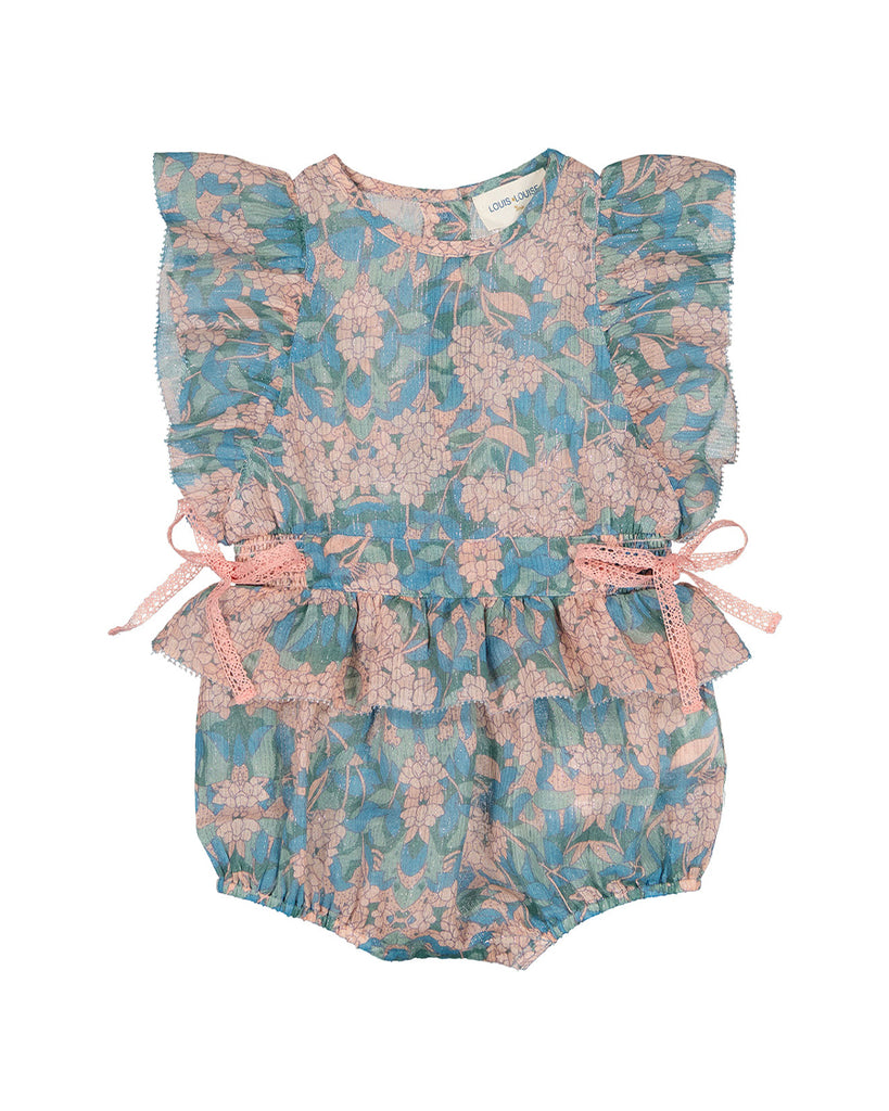 blue and pink floral ruffle romper with bow details