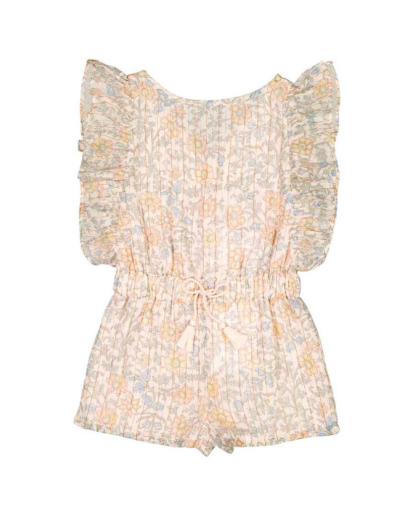light pink floral ruffle sleeve romper with lurex stripes