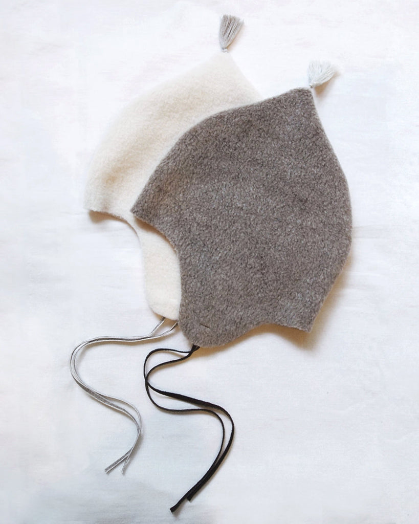 beige fleece bonnet