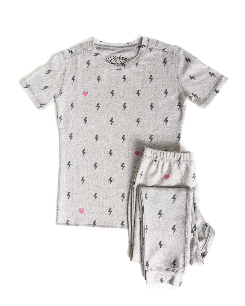 grey short sleeve pajama set with lightening bolt and hearts pattern