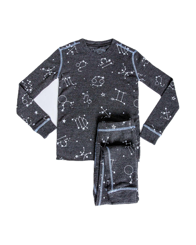 Heather charcoal with white astrology sign print pajama set