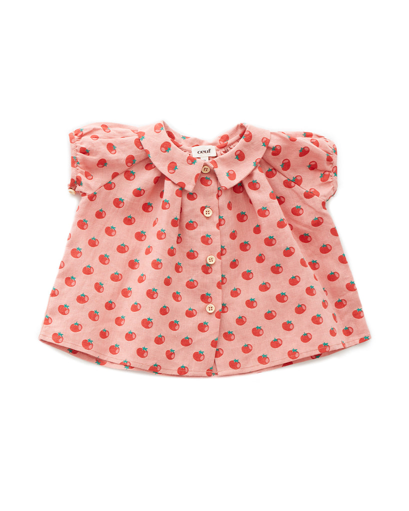 short sleeve collar blouse with tomato pattern