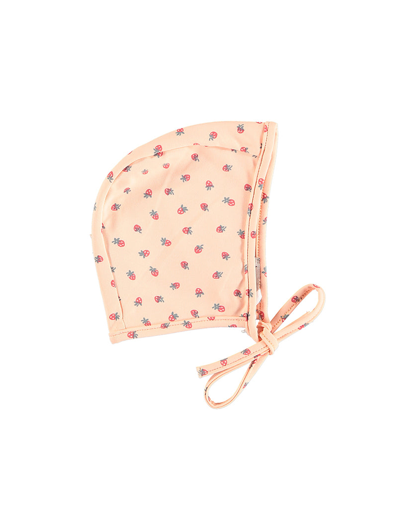 Strawberry print swim bonnet with tie at chin