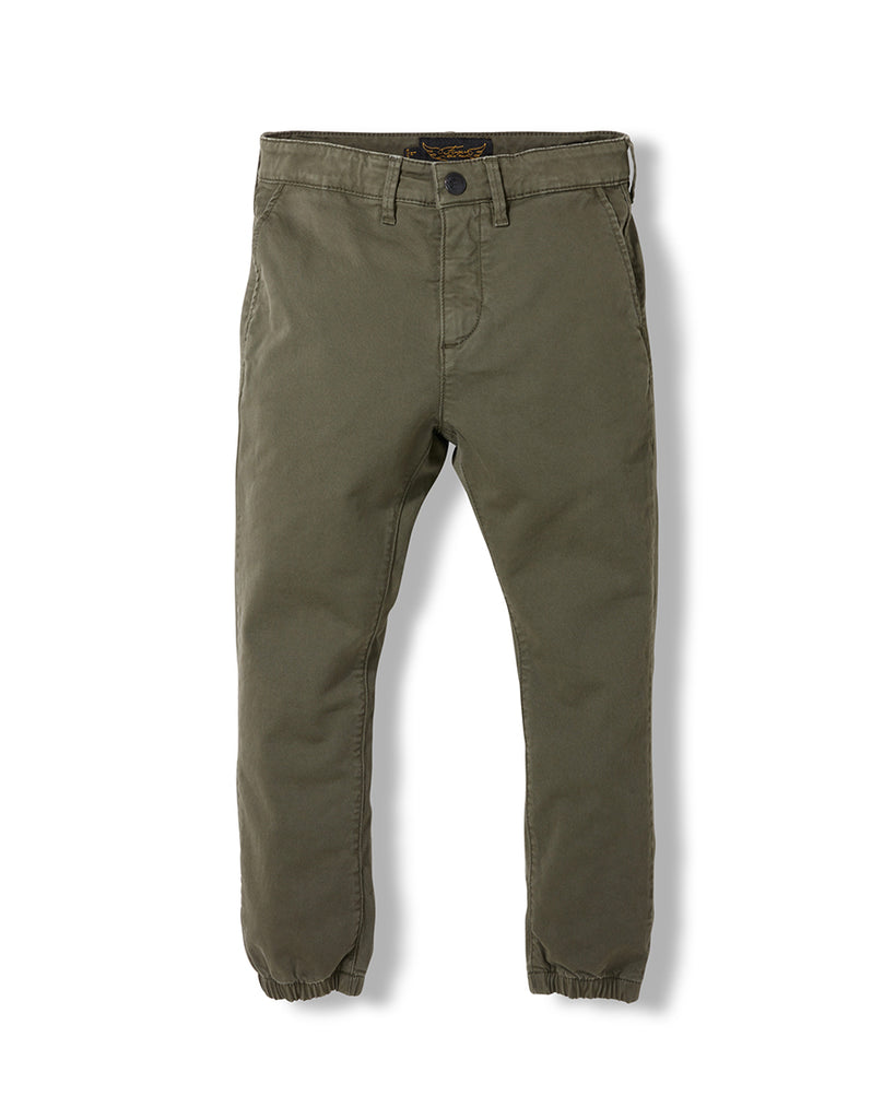Skater Chino Jogging Pants - Army Green