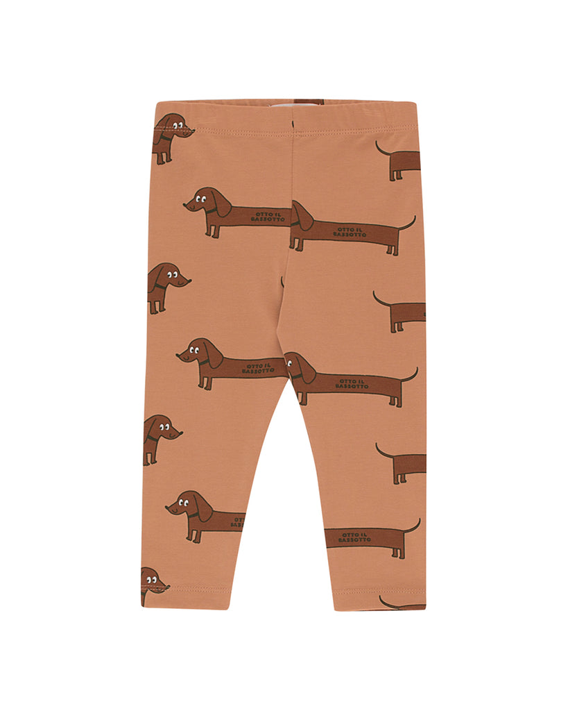 Tan leggings with daschund print