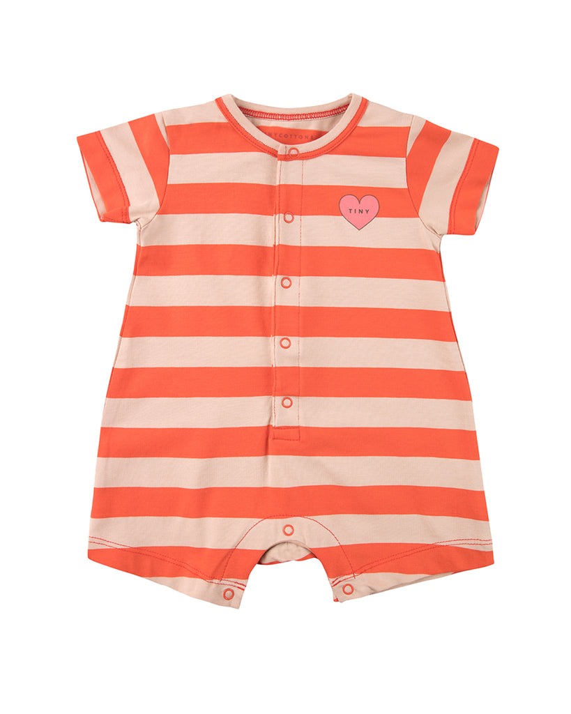 Orange and white striped short sleeve romper with heart