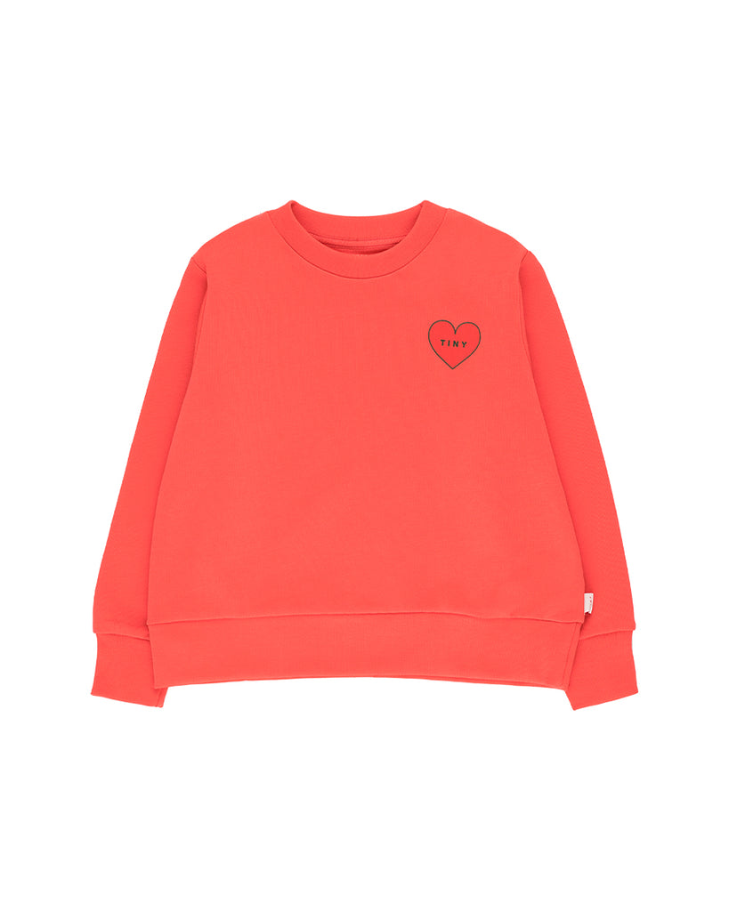 Tiny Heart Crop Sweatshirt - Light Red