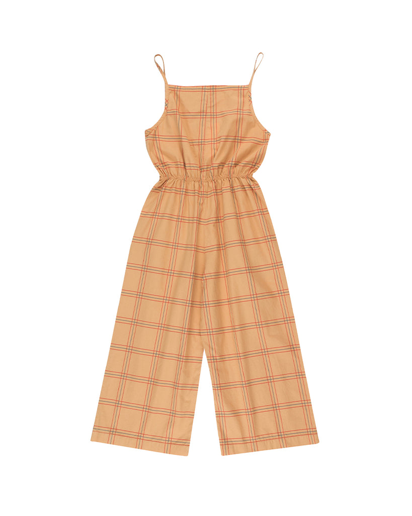 Tan plaid sleeveless jumpsuit