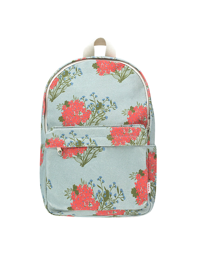 Sea green back pack witb red floral print