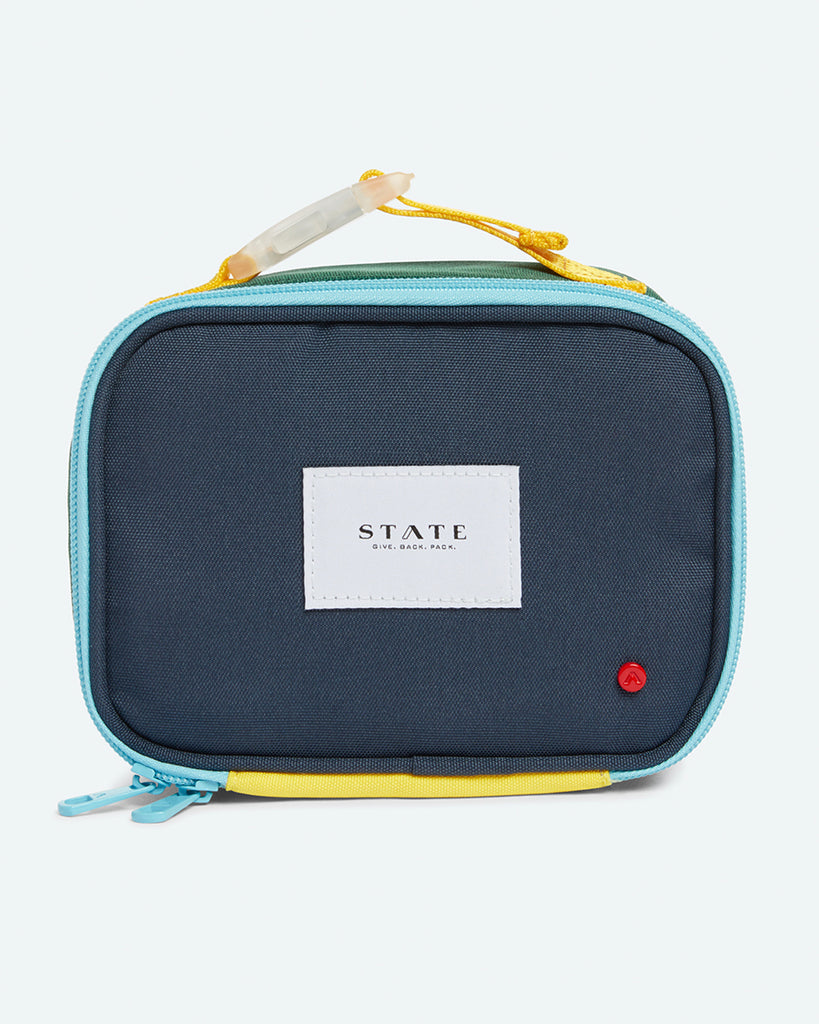 Blue, green, and grey snack bag with zip closure