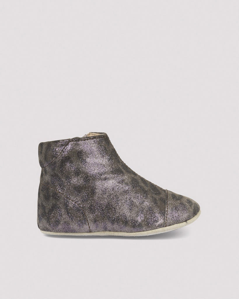 Grey leopard print booties with zip closure