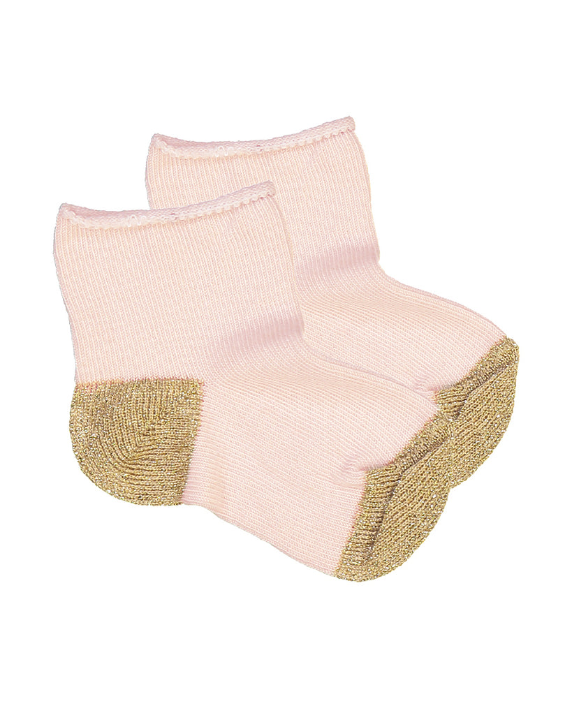 light pink socks with metallic gold contrast