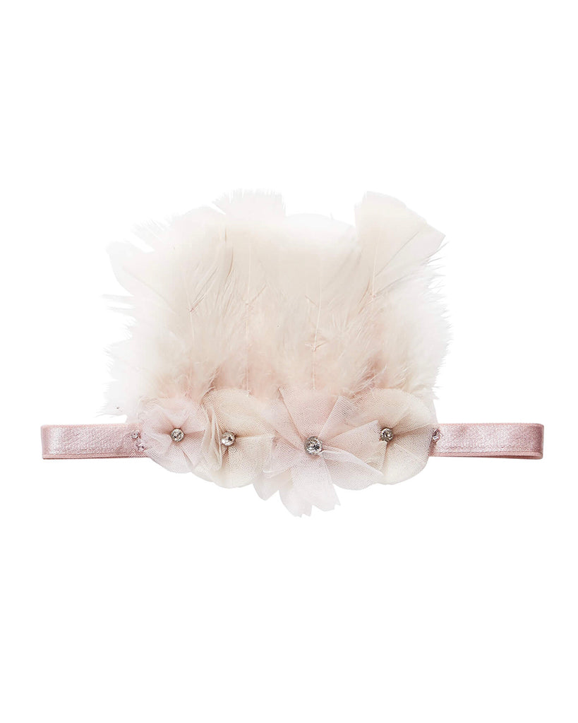 Blush headband with white feathers and rhinestones