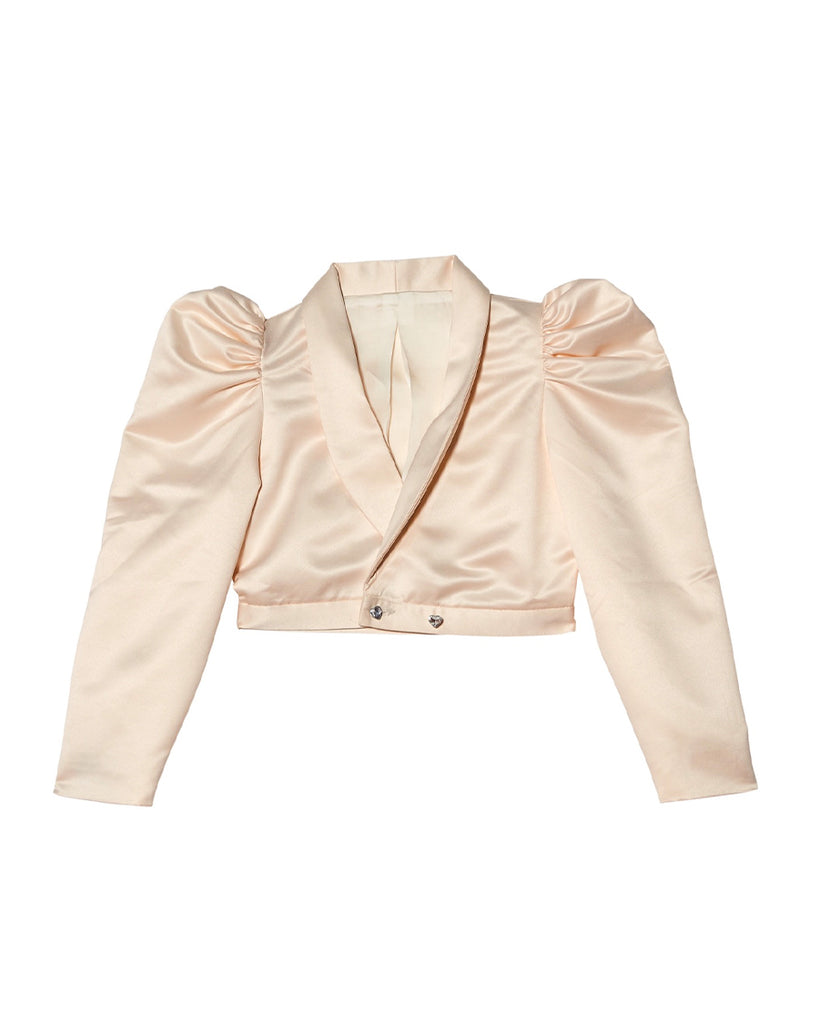Cream cropped jacket with puff sleeves