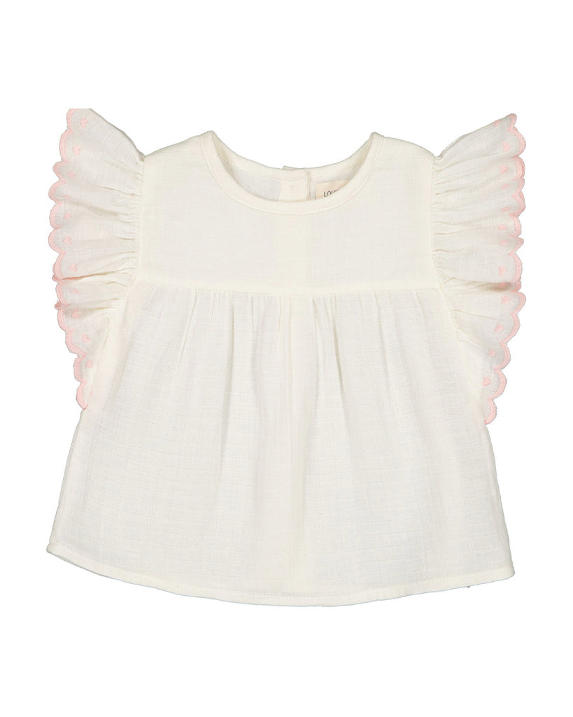 off white blouse with embroidered ruffle sleeves