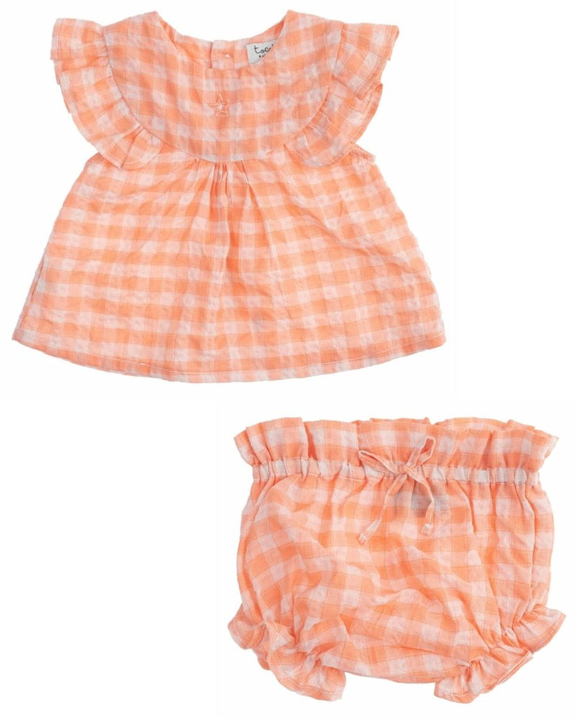 Checkered Blouse and Bloomer