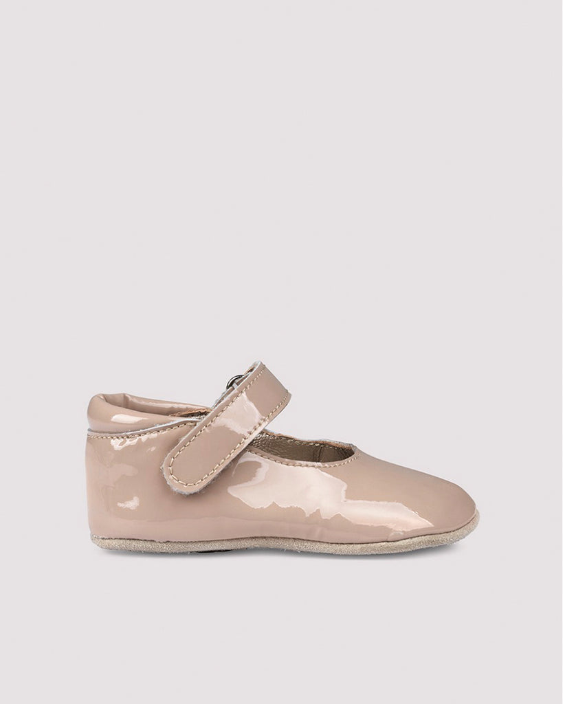 pale pink patent leather maryjanes with velcro straps