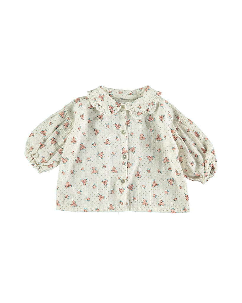 off white floral print button up blouse