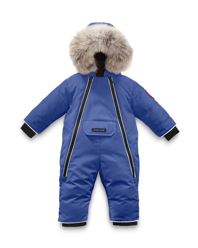 blue snowsuit with fur hood