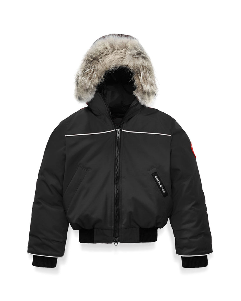 black bomber down jacket with fur rim hood
