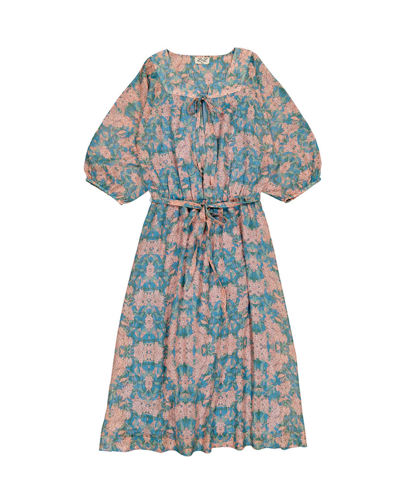 blue and pink floral print long dress
