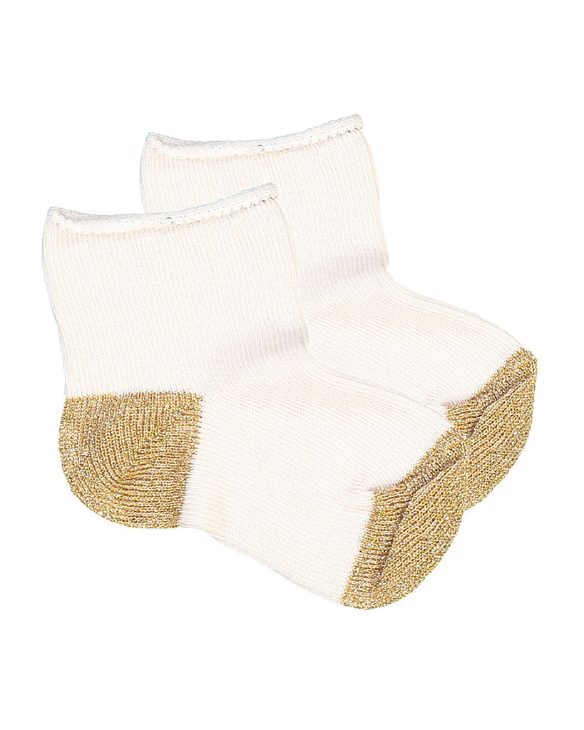 cream socks with metallic gold contrast