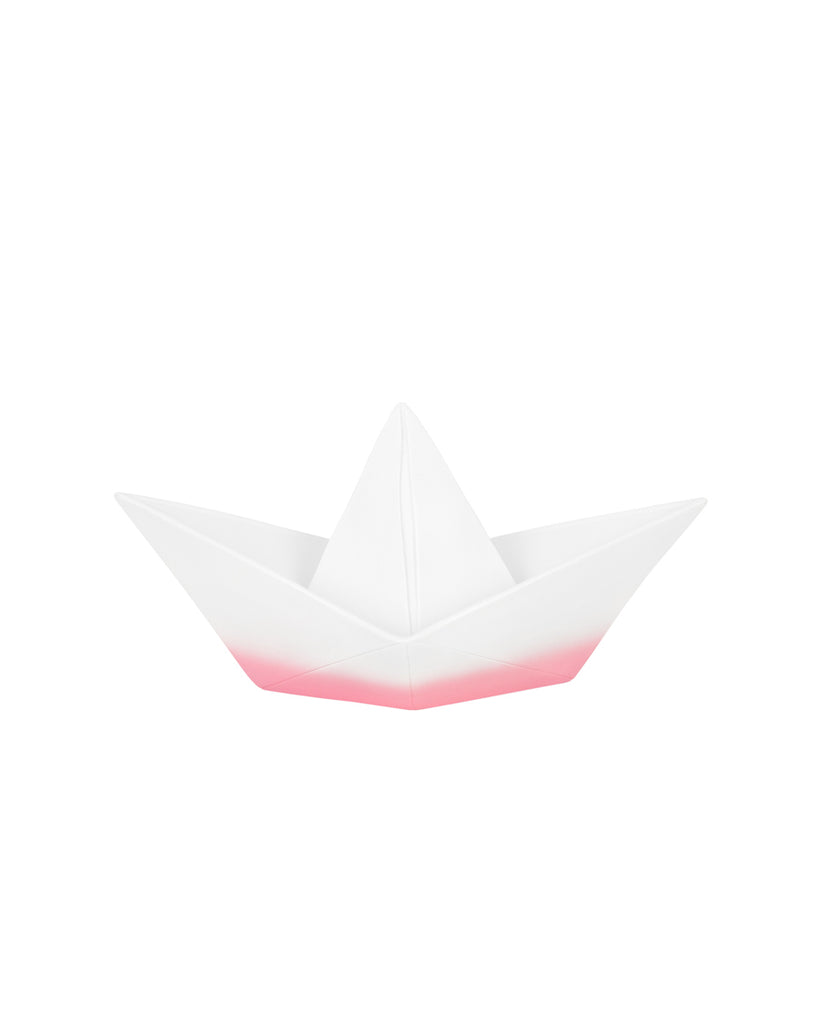white and pink ombre oragami boat night light