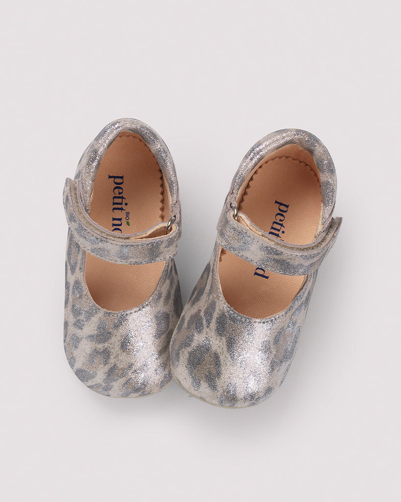 Velcro Shoes - Glitter Leopard