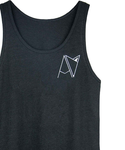 Black Androgynous Fox Badge Logo Tank top
