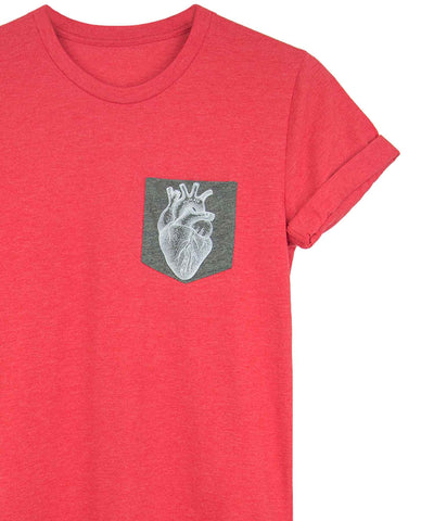Androgynous Fox red pocket tee with grey pocket featuring an anatomical heart print.