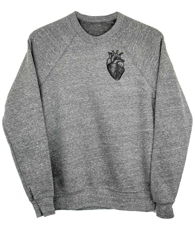 Androgynous Fox light grey pullover sweatshirt with anatomical heart in black ink.