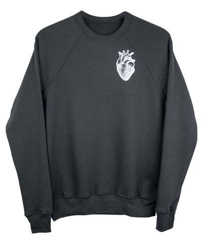 Androgynous Fox charcoal grey pullover sweatshirt with anatomical heart in white ink.