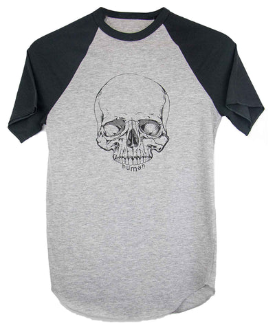 Androgynous Fox short sleeve baseball tee with black sleeves and white body. Skull is printed in black ink.