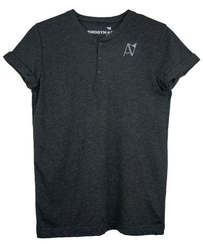 Black triblend henley with cuffed sleeves and Androgynous Fox logo at chest