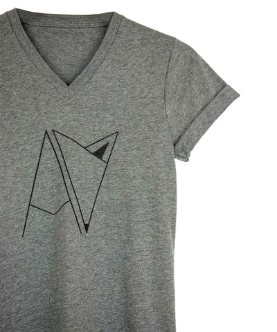 Grey Androgynous For Logo V-neck with cuffed sleeves
