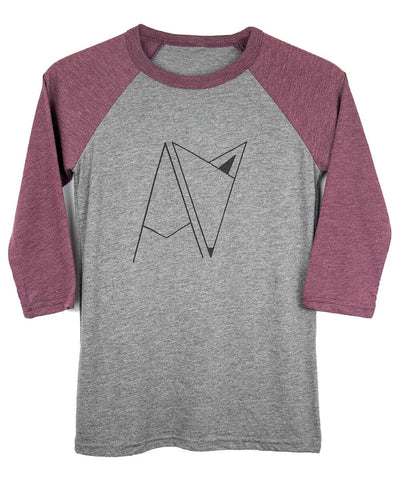 Maroon and Grey Androgynous Fox 3/4 sleeve baseball tee