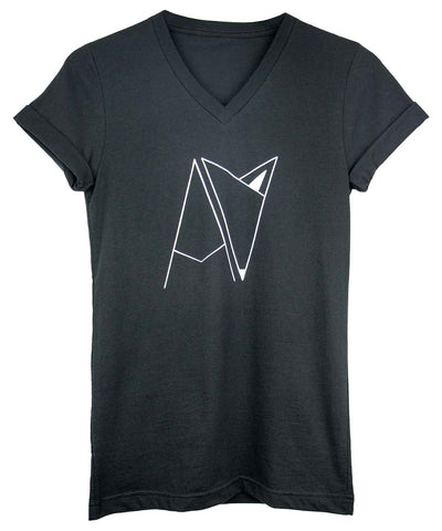 Black Androgynous For Logo V-neck with cuffed sleeves