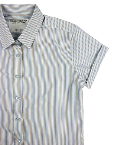The Murphy Short Sleeve Button Up with multi colored pin stripes by Androgynous Fox