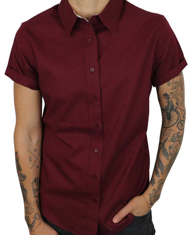 Red Swift fox short sleeve button up with cuffed sleeves by Androgynous Fox